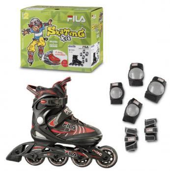 Детские  роликовые коньки Fila J-One Combo 2 Set blk/red