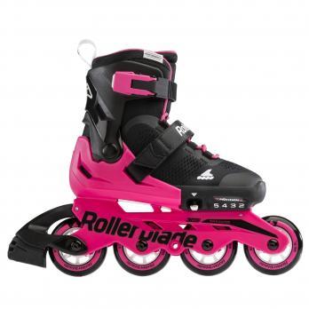 Детские раздвижные роликовые коньки Rollerblade Microblade BLACK/NEON PINK