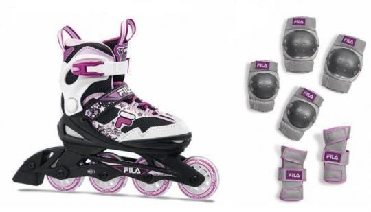 Роликовые коньки FILA J-One G Combo 2 SET black/white/magenta