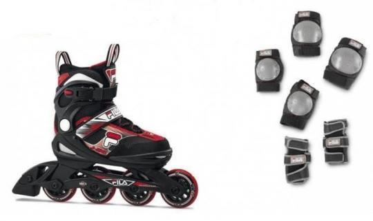 Роликовые коньки FILA J-One  Combo 2 SET black/red